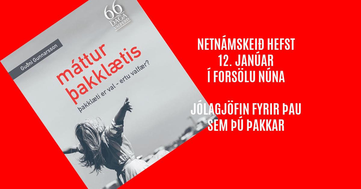 Máttur þakklætis - netnámskeið hefst 12. janúar 2021. rys.is